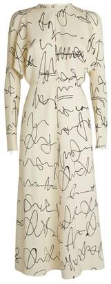 Victoria Beckham Scribble Print Midi Dress