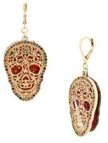 Betsey Johnson Crystal Roses Skull Dangle & Drop Earrings
