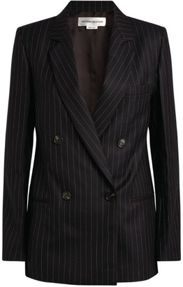 Victoria Beckham Pinstriped Double-Breasted Blazer