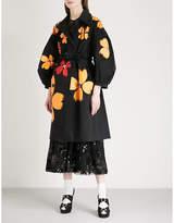 Simone Rocha Painted floral-print belted gabardine coat