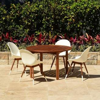 Amazonia Metz 5pc Round Wood/Resin Patio Dining Set - White
