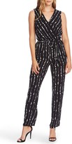 Vince Camuto Stripe Impressions Sleeveless Belted Jumpsuit
