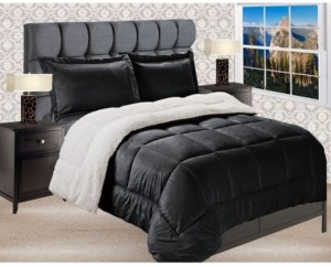 Elegant Comfort Premium Quality Heavy Weight Micromink Sherpa - Backing Reversible Down Alternative Micro - Suede 2-Piece Comforter Set, King Bedding
