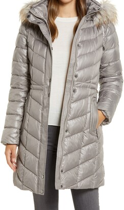 Gallery Faux Fur Trim Hooded Puffer Jacket