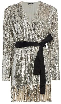 Rotate by Birger Christensen Samantha Sequin Fringe A-Line Wrap Dress