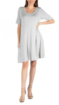 24seven Comfort Apparel Soft Flare T-Shirt Dress with Pocket Detail