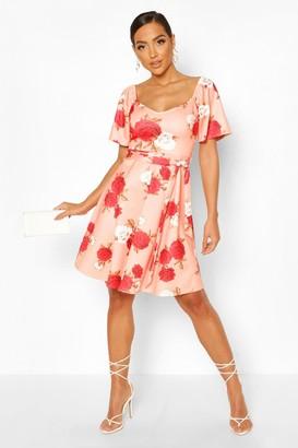 boohoo Square Neck Belted Floral Skater Dress