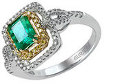 Effy Brasilica 14Kt. Yellow and White Gold Emerald Diamond Ring