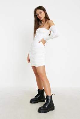 Tiger Mist Preta Ruched Mini Dress - white L at Urban Outfitters