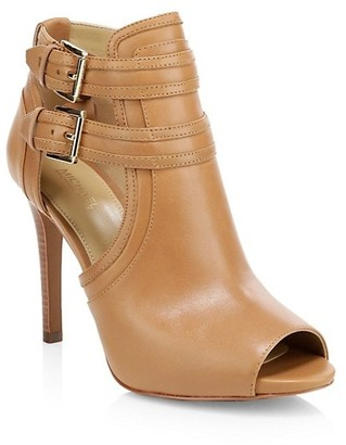 MICHAEL Michael Kors Blaze Peep-Toe Leather Booties