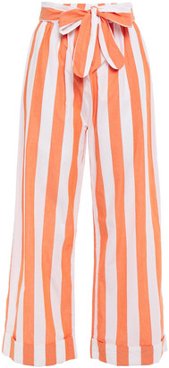 Mara Hoffman Bow-detailed Striped Cotton-broadcloth Wide-leg Pants