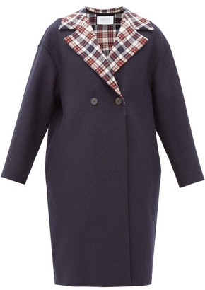 Harris Wharf London Double-breasted Tartan-lined Pressed-wool Coat - Navy