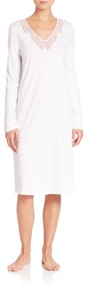 Hanro Valencia Lace-Trimmed Long-Sleeve Cotton Gown