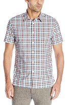 Perry Ellis Men's Multi Color Check Pattern Dobby Shirt