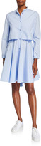 Emporio Armani Button-Front Cotton Poplin High-Low Dress w/ Circle Skirt
