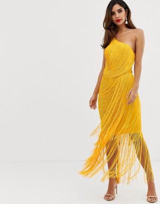 Asos DESIGN all over drape fringe one shoulder maxi dress