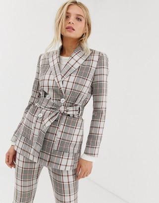 Asos Design DESIGN summer based check suit blazer with self belt-Multi