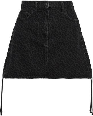 McQ Lace-up Leopard-print Denim Mini Skirt