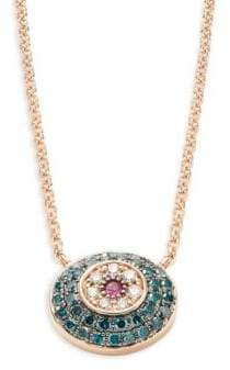 Effy 14K Rose Gold, Ruby, Blue & White Diamond Round Pendant Necklace