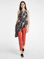 Halston Printed Asymmetric Silk Top