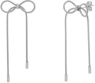 Bliss Women's Earrings Silvertone - Stainless Steel Bow Chain Drop Earrings