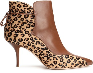 Malone Souliers Jordan Leather-paneled Leopard-print Calf Hair Ankle Boots