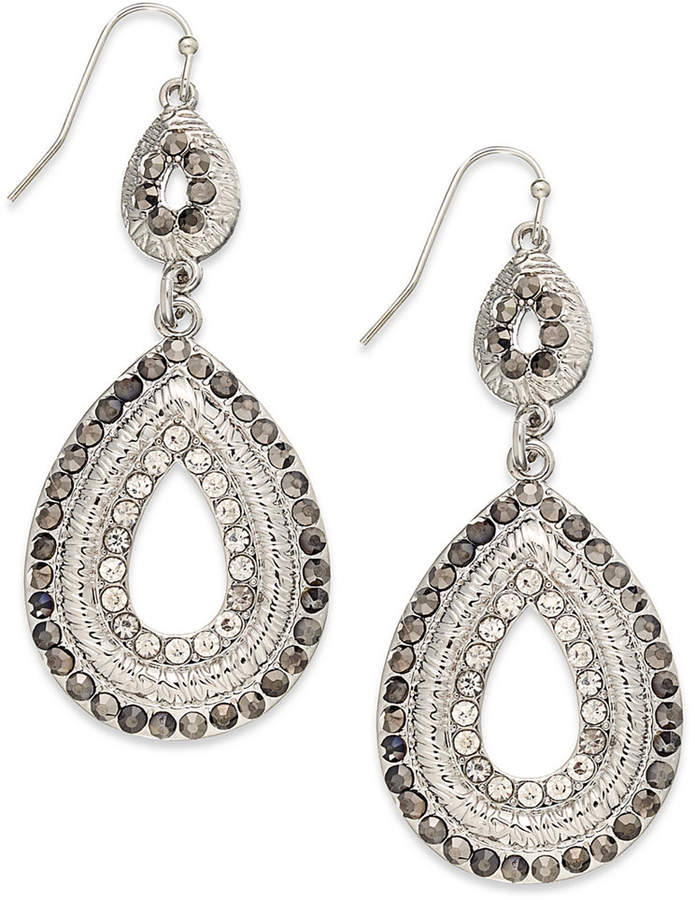 INC International Concepts I.N.C. Silver-Tone Pave Double Drop Earrings