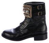 Rene Caovilla Crystal-Embellished Combat Boots