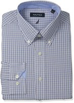 Nautica Men's Check Shirt with Button Down Collar with Brown Check