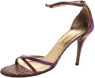 Dolce & Gabbana Brown/Purple Python And Satin Criss Cross Ankle Strap Sandals Size 38