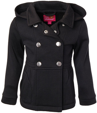 Pink Platinum Girls' Overcoats BLACK - Black Hooded Fleece Peacoat - Girls