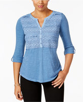 Style&Co. Style & Co Crochet-Detail Top, Only at Macy's