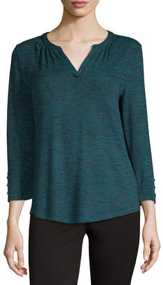 Liz Claiborne Womens V Neck 3/4 Sleeve T-Shirt