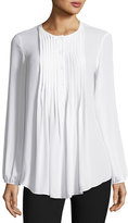 Max Studio Pintucked Georgette Blouse, Ivory