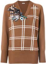 Miu Miu embroidered check sweater