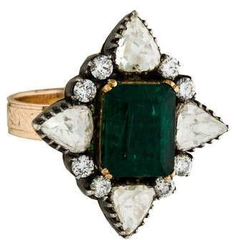 Amrapali 14K Emerald & Diamond Cocktail Ring