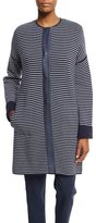 Loro Piana Vernazza Reversible Striped Coat, Spring Blue/White