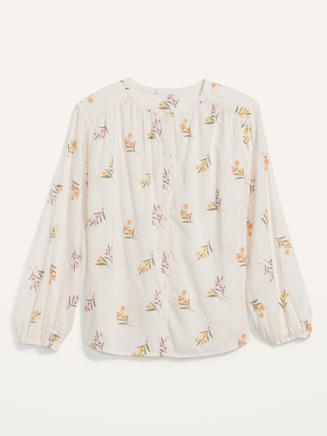 Thumbnail for your product : Old Navy Oversized Floral Clip-Dot Button-Front Blouse for Women
