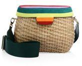 Edie Parker Jane Stripe Suede & Straw Shoulder Bag