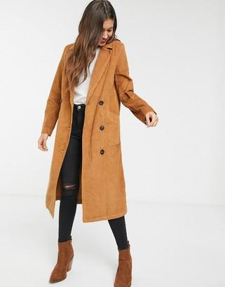 Asos Design DESIGN cord midaxi trench coat-Tan