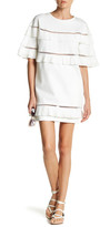 Gracia Ladder Piping & Pintuck Pleated Shift Dress