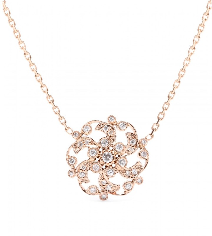 Stone 18kt rose gold Once Upon A Time necklace with white diamonds