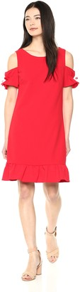 Betsey Johnson Women's Cold Shoulder Scuba Crepe Dress with Ruffled Hem