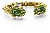 David Webb 18K Yellow Gold Kingdom Baby Frog with Rubies Bangle Bracelet