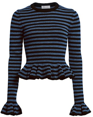 Michael Kors Striped Ruffle Peplum Cashmere Knit Sweater