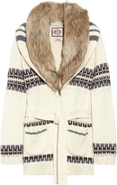 Faux fur-trimmed wool-blend cardigan