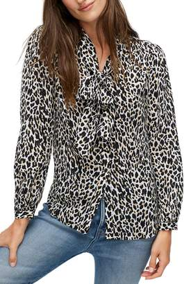 J.Crew Leopard Tie Neck Silk Blouse