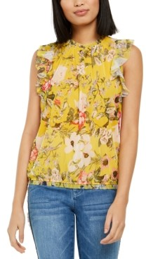 INC International Concepts Inc Printed Ruffled Sleeveless Top, Created for Macy's