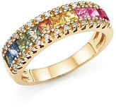 Bloomingdale's Multi Sapphire and Diamond Band Ring in 14K Yellow Gold - 100% Exclusive