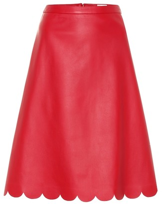 RED Valentino Scalloped A-line leather skirt
